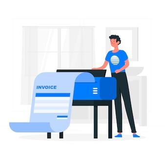 Иллюстрация концепции печати счетов