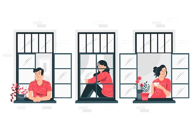 バルコニー/窓の概念図の人々