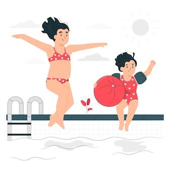 プールの概念図で遊ぶ子供たち