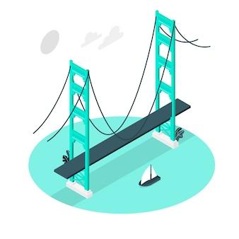 Иллюстрация концепции моста золотые ворота