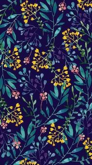 黄色の水彩画の花を持つモバイルの背景