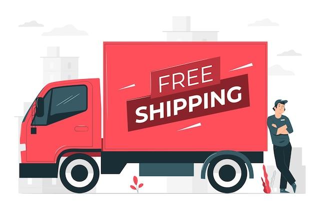 Иллюстрация концепции бесплатной доставки