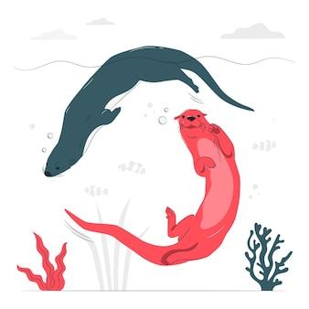Иллюстрация концепции плавания выдры