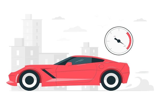 Иллюстрация концепции быстрого автомобиля