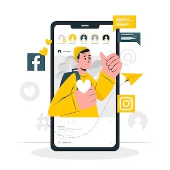 Иллюстрация концепции социальных медиа