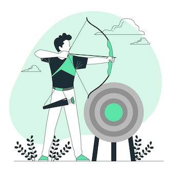Иллюстрация концепции стрельбы из лука