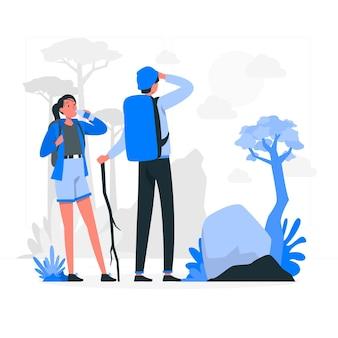 Иллюстрация концепции пеших прогулок