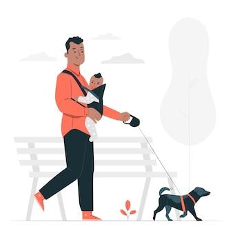 Собака гуляет концепция иллюстрации