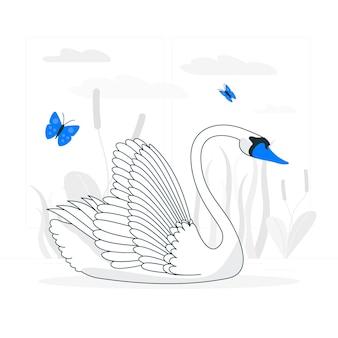 Элегантный лебедь концепции иллюстрации