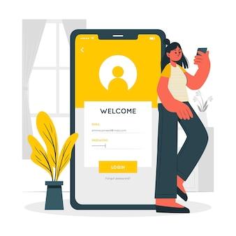 Иллюстрация концепции мобильного входа
