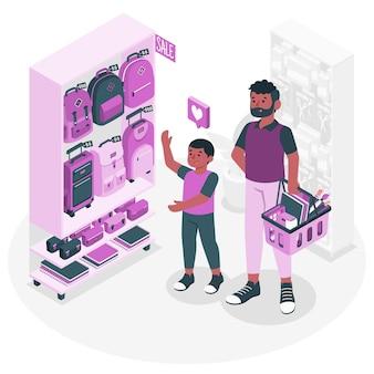学用品を購入する人々の概念図