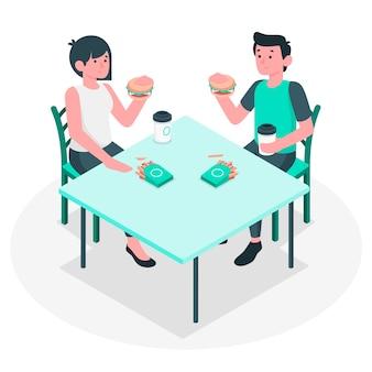 Еда вместе концепции иллюстрации