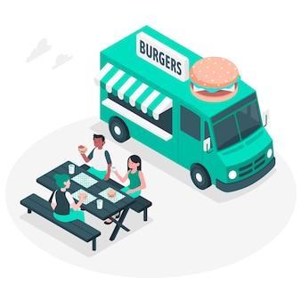 Концепция иллюстрации уличной еды