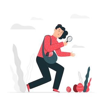 Концепция иллюстрации охоты пасхального яйца
