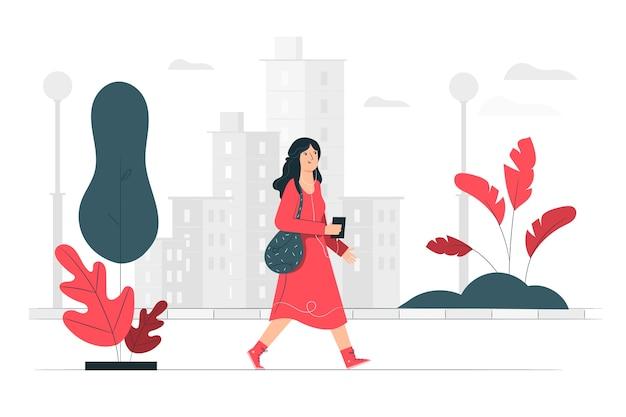 Прогулка по городу иллюстрации концепции