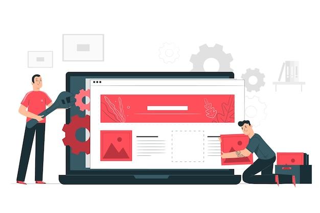 Концепция иллюстрации настройки веб-сайта