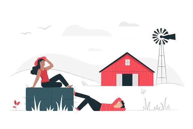 Концепция иллюстрации сельской местности