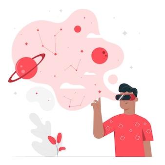 Концепция иллюстрации виртуальной реальности