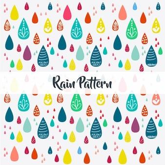 手描きの雨模様