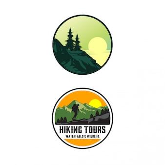 ハイキングツアーのロゴのテンプレート