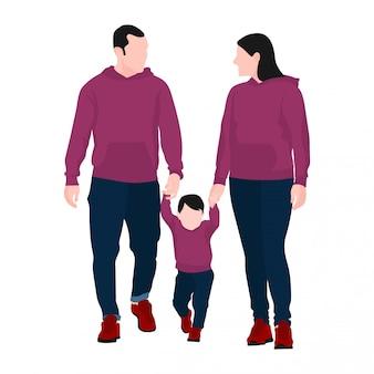 Счастливая семья с родителями и дочерью