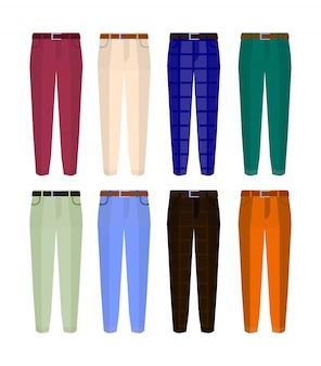男性の異なる色の古典的なズボンのセット。