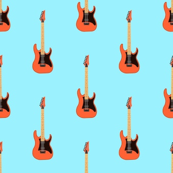 明るい青の背景にシームレスなエレキギターパターン