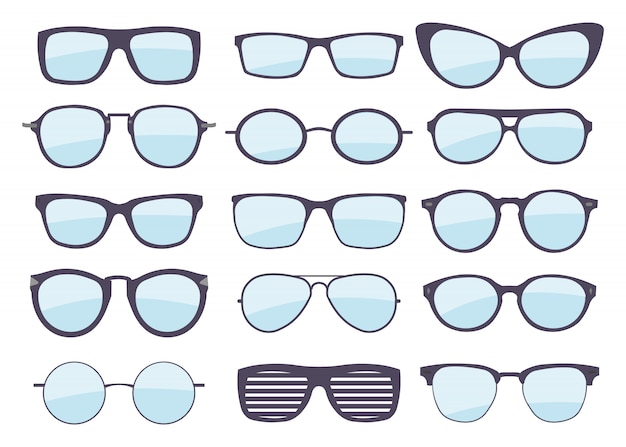 Набор очков разных стилей. мода и стиль жизни. модная оправа для очков.