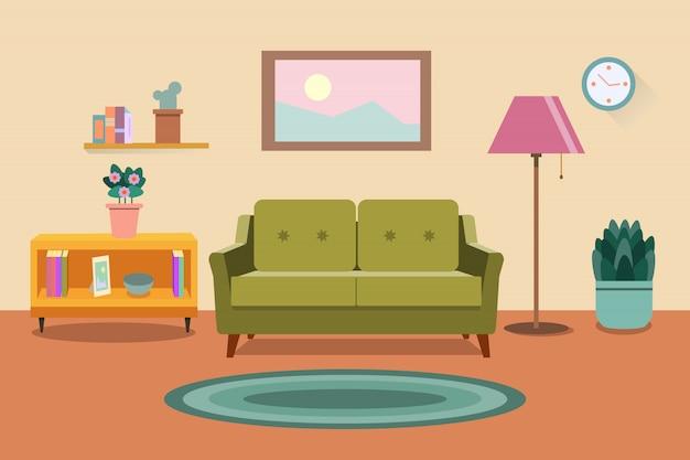 リビングルームのインテリア。家具:ソファ、本棚、ランプ。フラットスタイルの図
