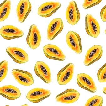 Бесшовный фон с яркими экзотическими фруктами папайи с семенами. акварельная живопись. рисованной иллюстрации