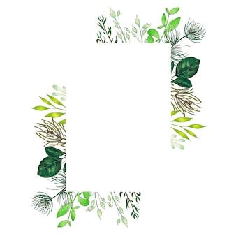 手描きの小枝、枝、緑の抽象的な葉を持つマーカー花のフレーム