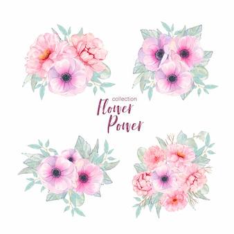 水彩の手描きの花ピンクのアネモネと分離された牡丹の花束