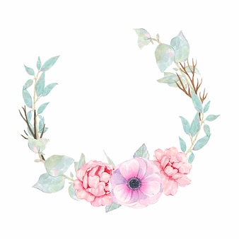 水彩の手描きの花ピンクの牡丹アネモネと緑の葉が白で隔離と丸い花輪