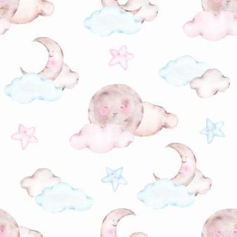 かわいい睡眠月三日月と水彩のシームレスパターン