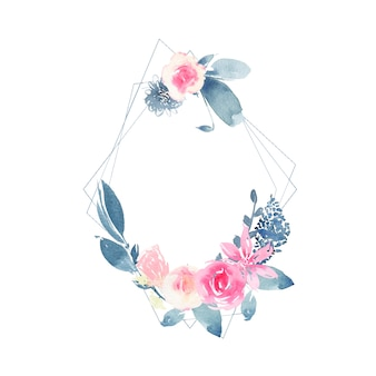 ピンクのバラの花と藍の葉と水彩の幾何学的な花輪