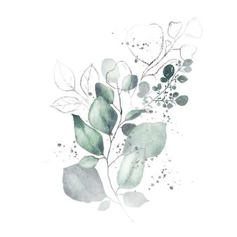 分離された緑の葉銀ハーブブーケと水彩の配置