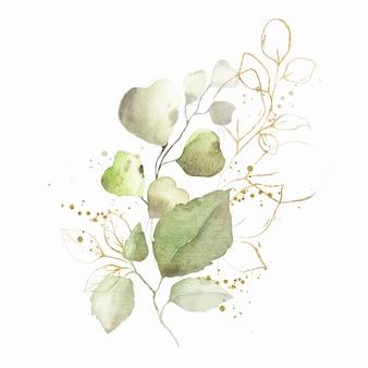 Акварельная композиция с зелеными листьями, букет золотых трав