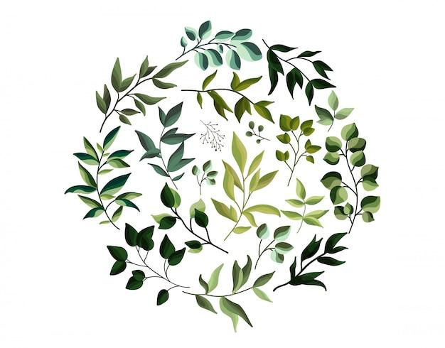 緑のエコは水彩風にハーブの葉を残します。日付を保存するための葉のバナーと結婚式の招待状。植物のエレガントな装飾的なベクトルテンプレート