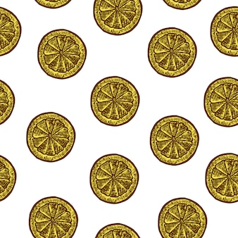 レモンのスライスとのシームレスなパターン。ベクタースケッチ図。手で書いた