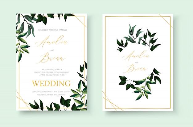 結婚式の花の黄金の招待状は、熱帯の緑の葉のハーブの花輪とフレームの日付デザインを保存します。植物のエレガントな装飾的なベクトルテンプレート水彩風