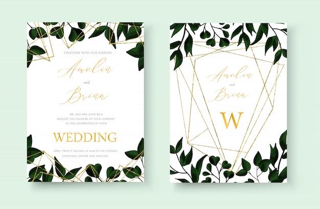 結婚式の花の黄金の招待状カードはゴールドの幾何学的な三角形のフレームと緑の熱帯の葉のハーブと日付のデザインを保存します。植物のエレガントな装飾的なベクトルテンプレート水彩風