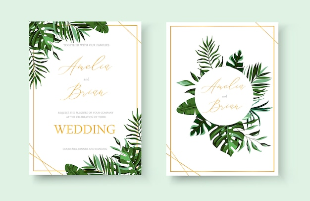 結婚式の熱帯のエキゾチックな花の黄金の招待状は、熱帯のモンステラの手のひらで日付のデザインを保存します。植物のエレガントな装飾的なベクトルテンプレート水彩風