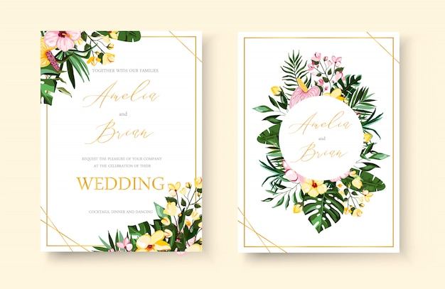 結婚式の熱帯のエキゾチックな花の黄金の幾何学的なフレームの招待状は、プルメリアのハイビスカスカラーグリーンモンステラヤシの葉で日付を保存します。植物のエレガントな装飾的なベクトルテンプレート