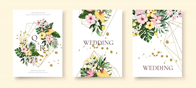 結婚式の熱帯のエキゾチックな花柄の幾何学的な三角形のフレームの招待状は、プルメリアのハイビスカスカラーグリーンモンステラヤシの葉で日付を保存します。植物のエレガントな装飾的なベクトルテンプレート