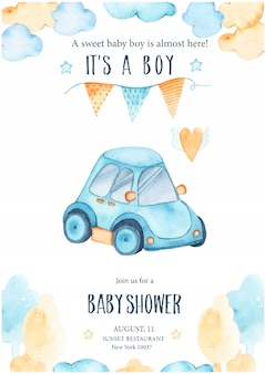 水彩そのかわいい青い車の自動ガーランドと男の子のシャワー