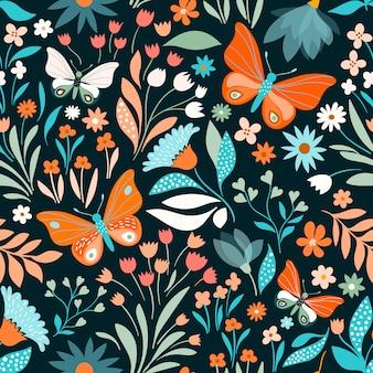 蝶とシームレス花柄