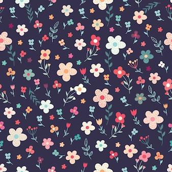 Цветочный фон с цветами и растениями