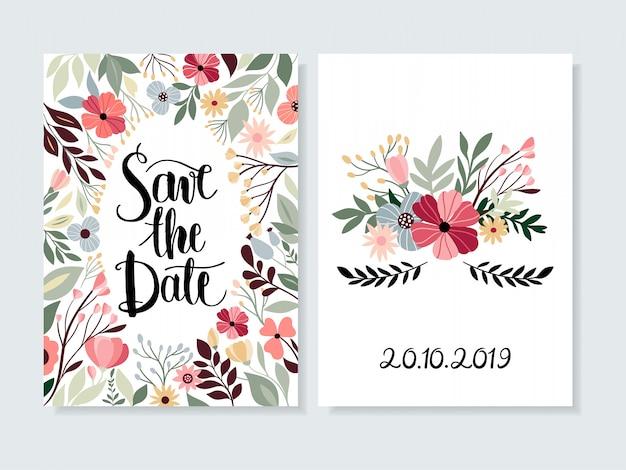花と手のレタリングで日付の招待状を保存する