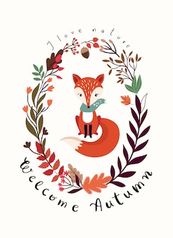 季節の花輪とキツネの秋のカードデザイン