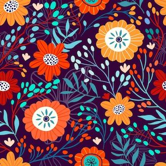 花とのシームレスな花柄